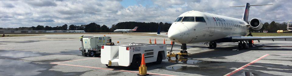 Coastal Carolina Regional Airport, a jet parked on the tarmac.