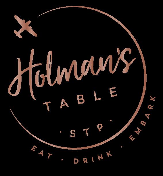 Holman's Table logo. STP. Eat, Drink, Embark.