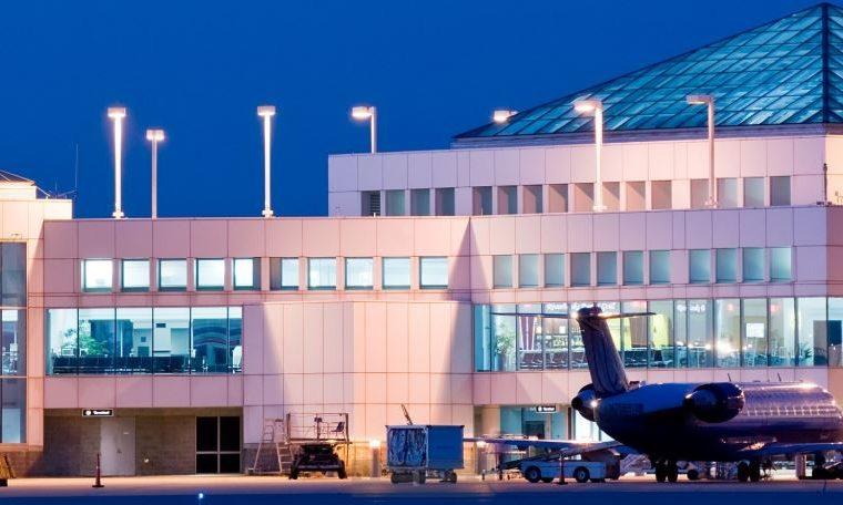 Columbia Metropolitan Airport at dusk on the runway side.