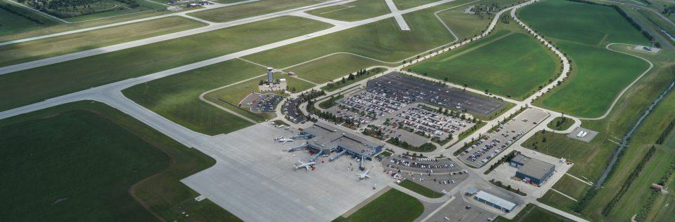 Hector International Airport aerial photo.
