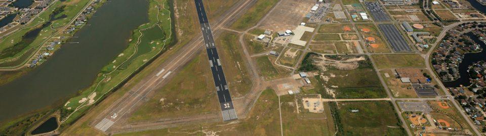 Scholes International Airport aerial view.