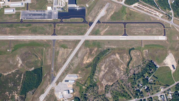 Auburn-Lewiston Airport aerial view of the runways.