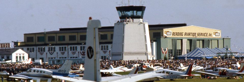 Reading Regional Airport hangar during airshow.