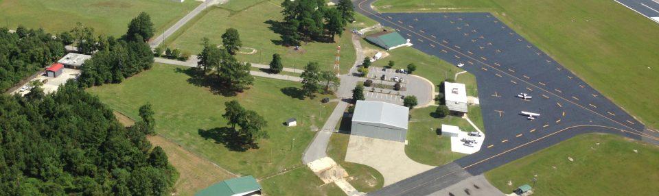 Lumberton Municipal Airport aerial view.
